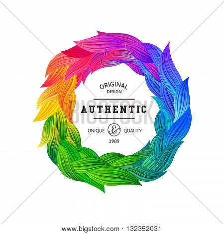 Circle Frame with Fun Rainbow Colored Feathers. Vector Round Label. Vibrant Flower Wreath. Abstract Colorful Background. Beautiful Petals Borders.