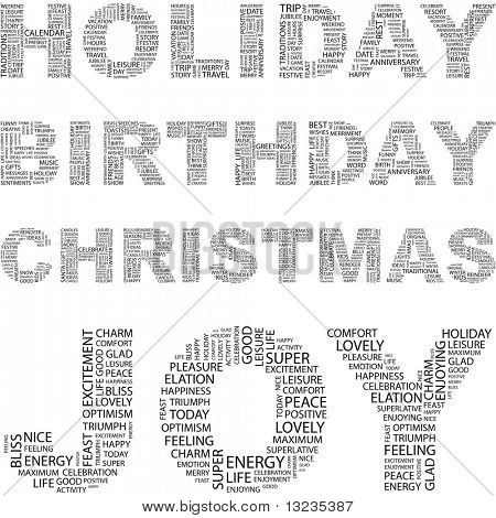 HOLIDAY. Word collage. Illustration with different association terms.