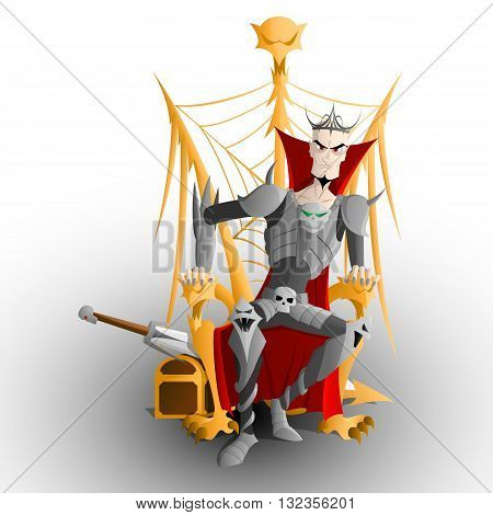 Russian fairy tale Tsar Koshey armored sitting on the golden throne - three headed monster - zmey gorinich - with sword and chest behind