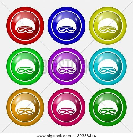 In A Ski Masks, Snowboard Ski Goggles, Diving Mask Icon Sign. Symbol On Nine Round Colourful Buttons
