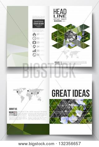 Set of business templates for brochure, magazine, flyer, booklet or annual report. Polygonal floral background, blurred image, blue flowers in green grass closeup, modern triangular texture.