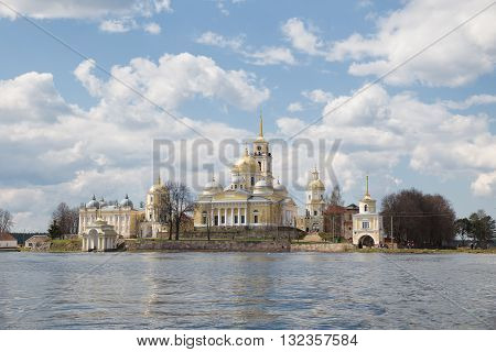 Nilo-Stolobensky monastery at sunny day view from lake Seliger. Russia