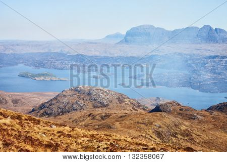 Unearthly mountain landscape.  Loch Sionascaig and Suilven in spring ( View from Stac Pollaidh  towards Suilven), Inverpolly, Northwest Highlands, Scotland, UK.