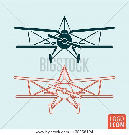 Old airplane icon. Retro biplane symbol. Vector illustration