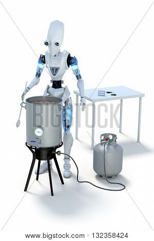 3D Rendering of a robot boiling wort to make homebrewed beer.