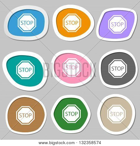 Stop Symbols. Multicolored Paper Stickers. Vector