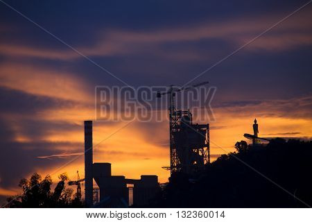 The industrial plant at dusk in Thailand