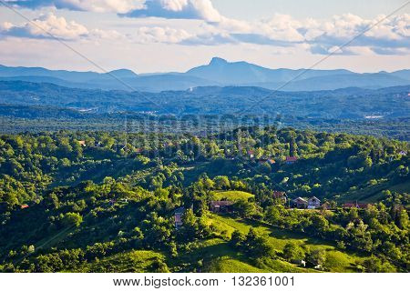 Plesivica vineyard region aerial view with distant mountain preak northern Croatia