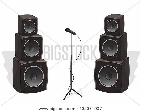 Stage with cartoon audio speakers and microphone, vector illustration isolated on white