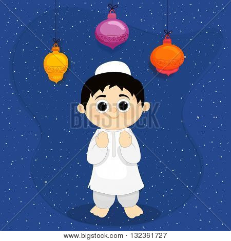 Cute little Muslim Boy reading Namaz (Islamic Prayer) on colourful hanging lamps decorated blue background, Concept for Islamic Festivals celebration.