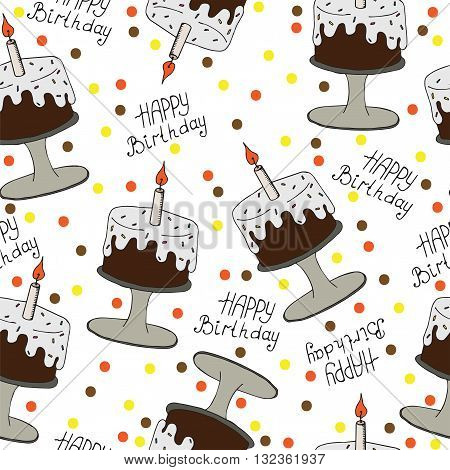 Happy Birthday seamless pattern with cake and candle. Isolated greeting card Happy Birthday. Seamless vector pattern for banner card invitation textile fabric wrapping paper.