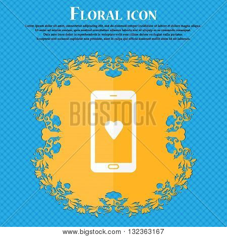 Love Letter, Valentine Day, Billet-doux, Romantic Pen Pals Icon. Floral Flat Design On A Blue Abstra