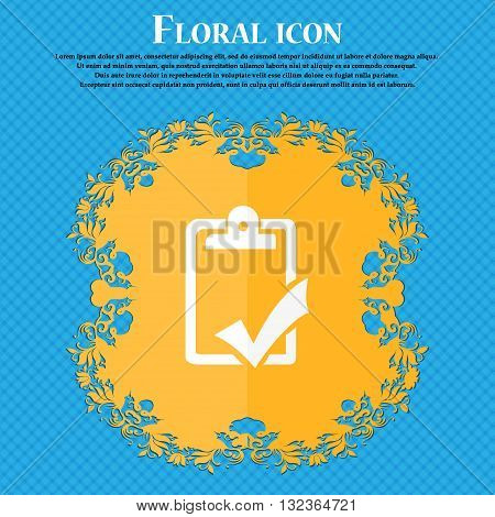 Document Grammar Control, Test, Work Complete Icon. Floral Flat Design On A Blue Abstract Background