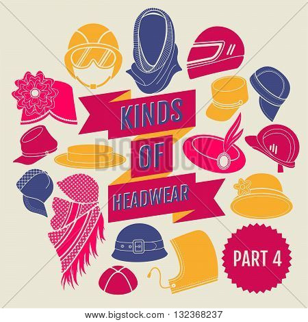 Kinds of headwear. Part 4. Flat icons