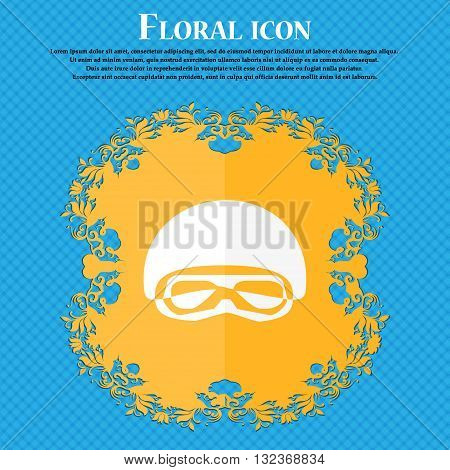 In A Ski Masks, Snowboard Ski Goggles, Diving Mask Icon. Floral Flat Design On A Blue Abstract Backg