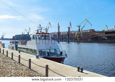 Excursion Ferry On Venta River In Ventspils In Latvia