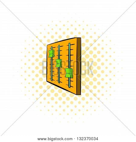 Vertical sliders on panel icon in comics style isolated on white background