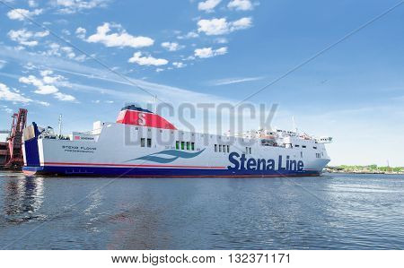 Big Liner In Venta River On Ventspils In Lativa