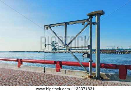 Lifting Crane At Venta River In Ventspils