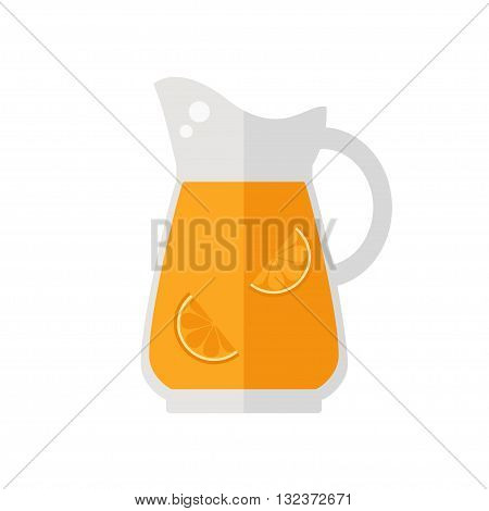 Juice jug icon. Orange juice jug isolated icon on white background. Fresh juice. Healthy drink. Flat style vector illustration.