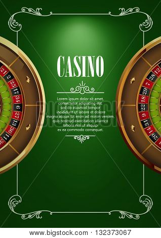 Casino Logo Poster Background or Flyer with Roulette Wheel . Banner with Casino Logo Badges. Game Cards on Green Canvas. Playing Casino Games. Casino Banner. Casino Games Gambling Template background.
