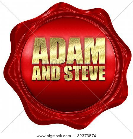 adam and steve, 3D rendering, a red wax seal