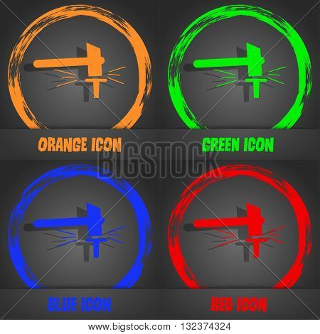 The Smithy. Forge And Stithy, Blacksmith Icon. Fashionable Modern Style. In The Orange, Green, Blue,