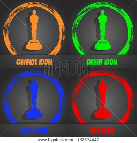 Oscar Statuette Icon. Fashionable Modern Style. In The Orange, Green, Blue, Red Design. Vector