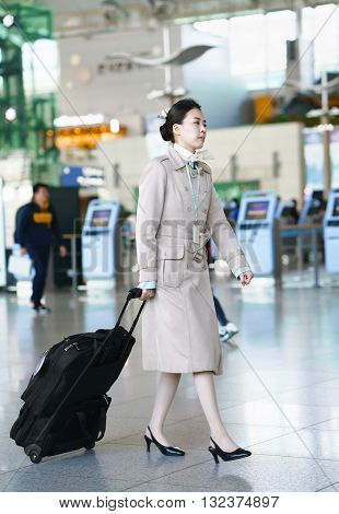 Asian Korean Air Flight Hostess At Incheon International Airport