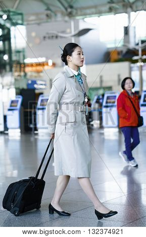 Asian Korean Air Flight Hostess At International Airport Of Incheon