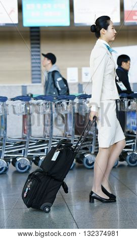 Asian Air Flight Hostess At International Airport Of Incheon
