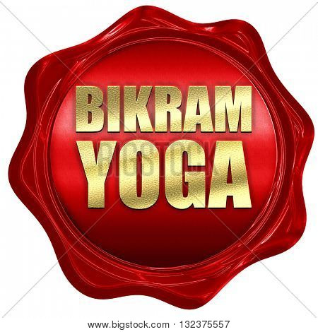 bikram yoga, 3D rendering, a red wax seal