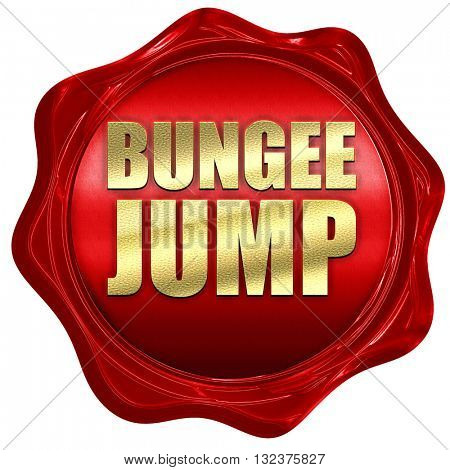 bungee jump, 3D rendering, a red wax seal