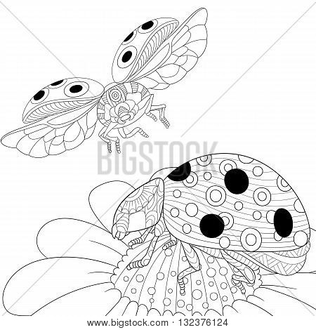 Zentangle stylized cartoon flying ladybugs and daisy flower. Hand drawn sketch for adult antistress coloring page T-shirt emblem logo or tattoo with doodle zentangle floral design elements.