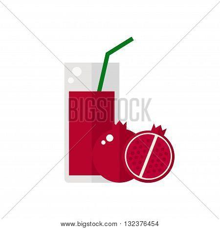 Juice icon. Pomegranate juice isolated icon on white background. Glass of juice with tubule. Pomegranate smoothies. Pomegranate fruit. Fresh juice. Flat style vector illustration.