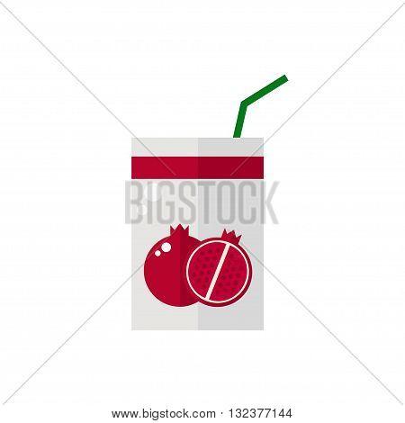 Pack of juice. Pomegranate pack of juice icon isolated on white background. Fresh pomegranate juice. Flat style vector illustration.