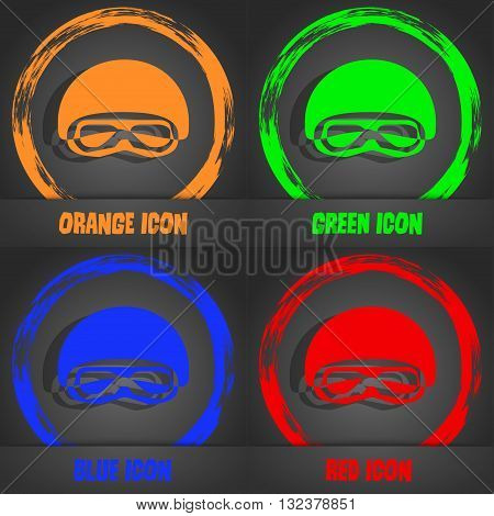 In A Ski Masks, Snowboard Ski Goggles, Diving Mask Icon. Fashionable Modern Style. In The Orange, Gr