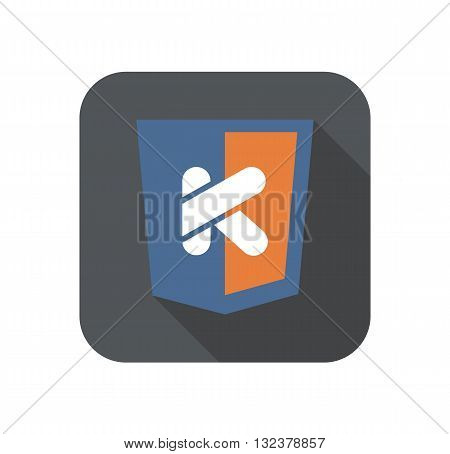 vector icon web shield with K letter - isolated flat design illustration long shadow on while background