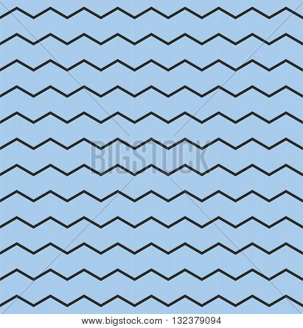 Tile chevron vector pattern with pastel blue and black zig zag background