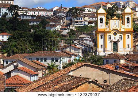 streets of the famous historical town Ouro Preto Minas Gerais Brazil