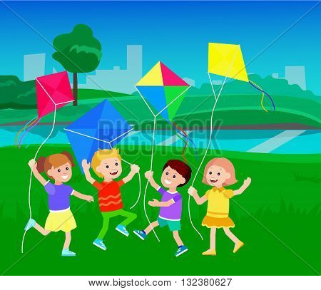 Cute vector character child. Cheerful child. Kids playing with kites. Vector illustration of children flying kites on the meadow. Detailed character child. Vector for Celebration children day