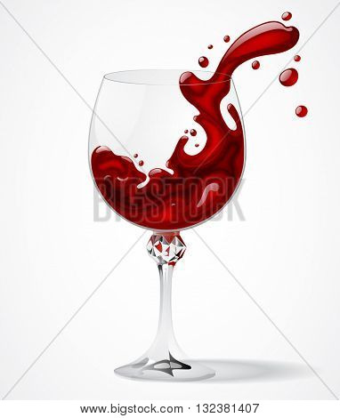 Transparent glass with splashed red wine on white background. Splash of wine. Vector illustration