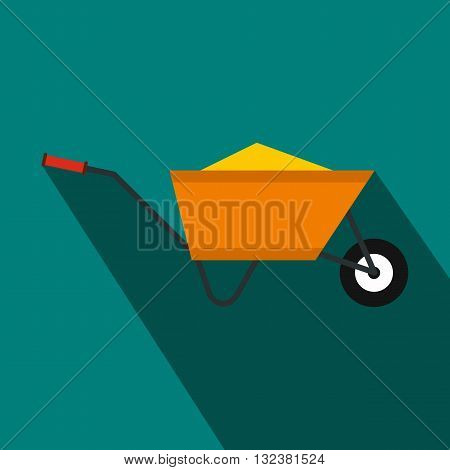 Wheelbarrow with sand icon in flat style on a blue background