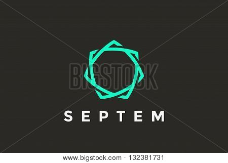Infinite Looped Seven point Star Logo design vector Linear
