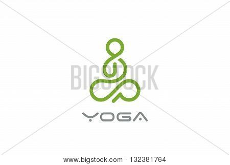 Yoga Logo Man sitting Lotus pose design vector Linear style