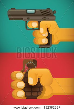Hands holding weapons illustration. Vector illustration.