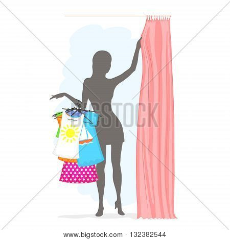 Slender woman is holding many clothes on hangers and pulling the curtain in the fitting room. Summer female shopping.