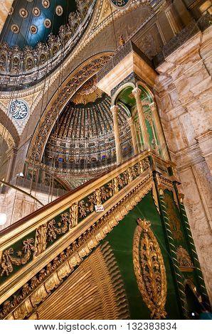 CAIRO EGYPT - NOVEMBER 18 2011: Interior of Mohammed Ali Mosque in Cairo Egypt.