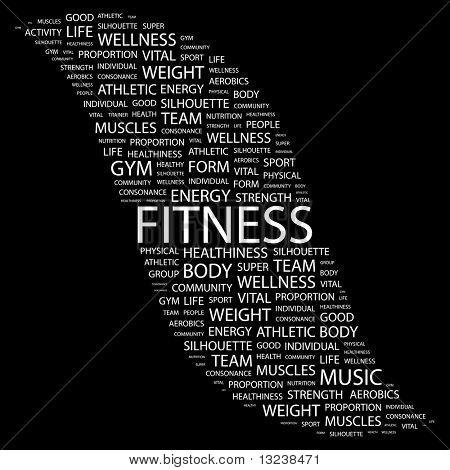 FITNESS. Word collage on black background. Illustration with different association terms. poster