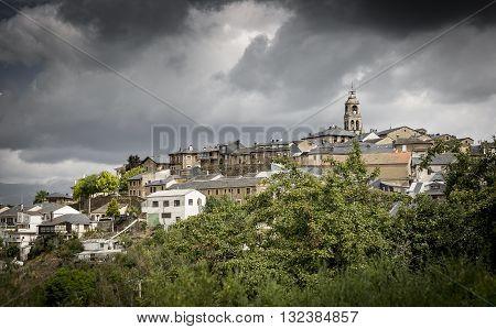 Puebla de Sanabria town on a rainy day, Zamora, Spain